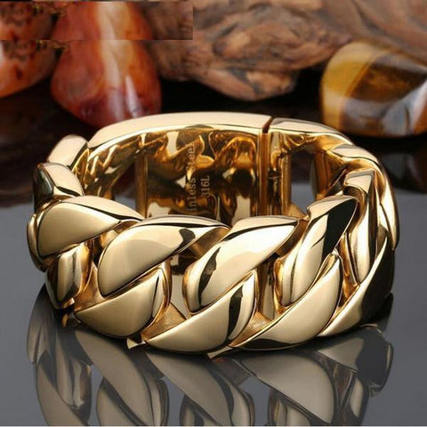 Yellow Gold Color Men's Bracelets Bangles 32MM Wide Armband Heavy Solid Stainless Steel Bracelet