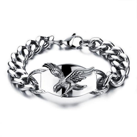 Silver Color Fashion Simple Men's Eagle Bangle Stainless Steel Bracelet Watchband Jewelry