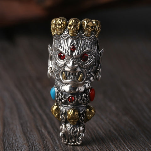 2019 Men Women Skull Pendant 100% Real 925 Sterling Silver Buddha God of Wealth Mosaic Color Stone Necklace Pendant