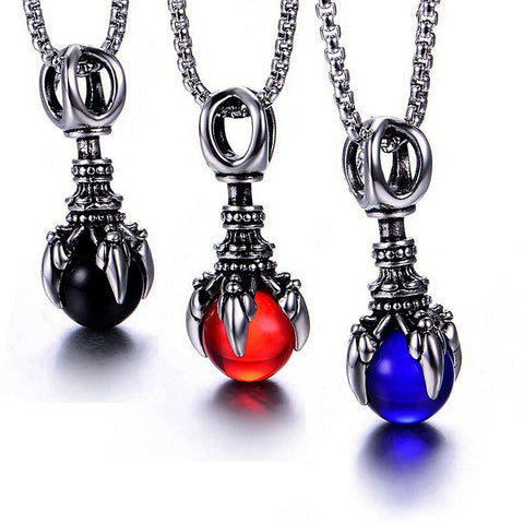 3 color Punk Style Jewelry Red Dragon Claws Bead Gothic Men Pendant Stainless Steel Chain Necklace