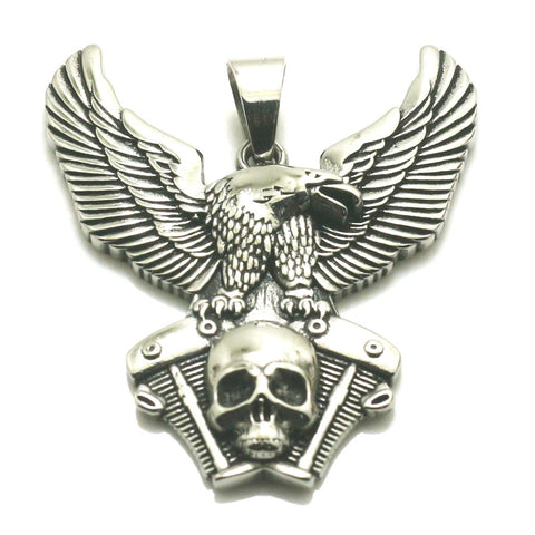 316L Stainless Steel Silver Biker Skull Eagle Engine Pendant Newsest