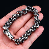 Punk Rock Long Skull Bracelets For Men Stainless Steel Shiny Skull Charm Link Chain