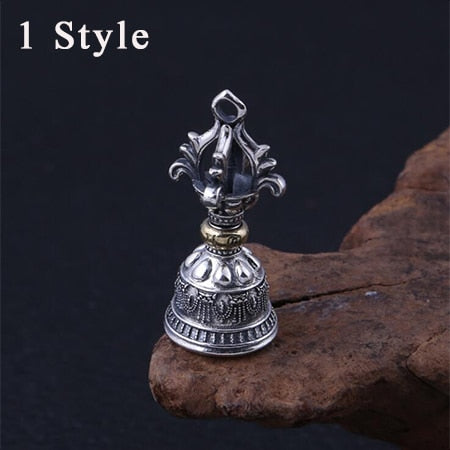 Buddha Pendant 100% 925 Sterling Silver Jewelry Men Women Religion Vajra Bell Necklace