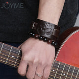 Buddhism Ohm Bracelet Vintage Genuine Leather Wide Cuff Wristband Punk OM Jewelry Brown Black Color