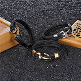 High Quality Bracelet Personality Smooth Leather Black Anchor Sport Hook Rope Stainless Steel Bracelet
