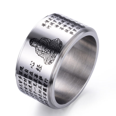 Buddhist scripture Rotatable 316L Stainless Steel Sanskrit Mantra Ring Power Lucky Ring