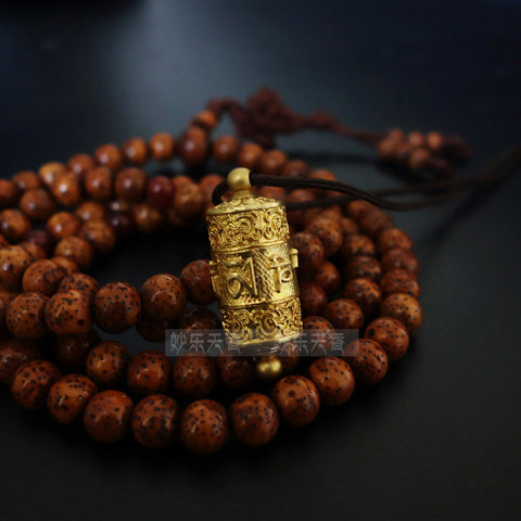 Copper Tibet Prayer Wheel Pendant Necklace,Freely rotate smoothly, Exquisite and delicate carved prayer mantra