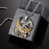 Eagle Pendant Necklace for Men Stainless Steel  Metal Jewelry LIVE TO RIDE Necklace Biker Hero Necklace