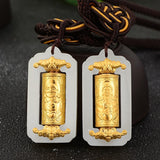 Jade prayer wheel Pendant Buddha  Jade Necklace Pendants For Men Women Unisex transfer tube