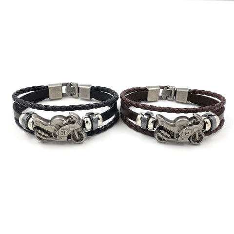 2019 New Punk Rock Harley Motorcycle Genuine Black Leather Bracelet Men Vintage