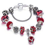 Authentic Silver Plated 925 Crown Beads Key Crystal Heart Charm Bracelet Fits Pandora Bracelet For Women