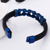 Rocker Biker Bicycle Chain Men Bracelet Stainless Steel & Leather