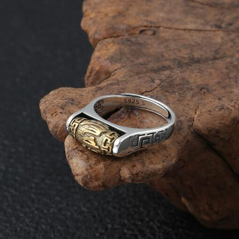Handmade 925 Silver Tibetan Six Words Proverb Ring Turning Ring Good Luck Ring Resizable