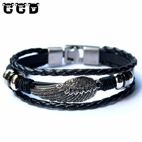 Hot sale 2019 Fashion Leather Wing Anchor Charm Bracelets