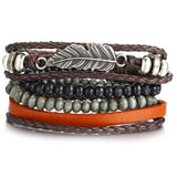 Vintage Multiple Layers Leather Bracelet Set for Men Women Charm Leaf Feather Stone Wood Beads Wrap Bracelets