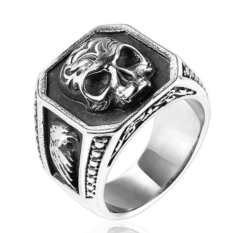 Gothic men's ring biker skull ring viking stainless steel eagle male rings men