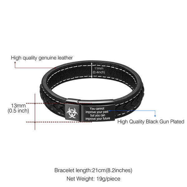 Black Genuine Leather Leather Bracelet Customize Engrave Jewelry Stainless Steel Personalized Bracelets