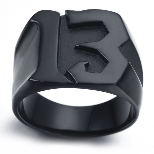 Lucky 13 Titanium Steel Ring Jewelry Men's Fashion 13 Ring