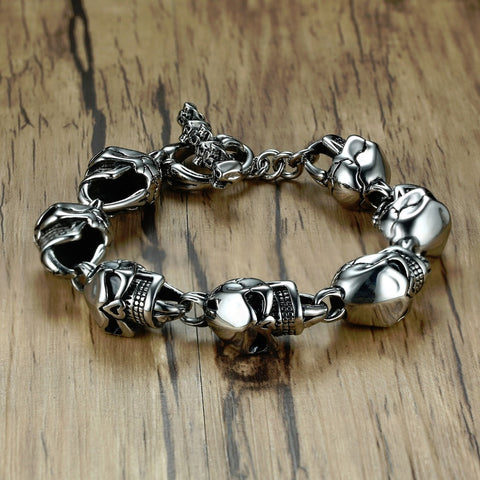 Stainless Steel Skulls Head Chain Bangle Bracelet Gothic Punk Biker