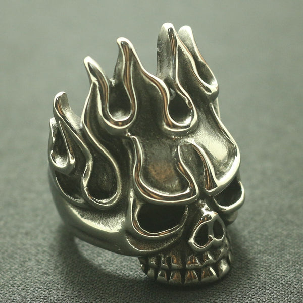 Mens 316L Stainless Steel Biker Newest Flaming Skull Ring