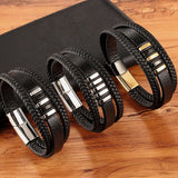 New 3 Layers Black Gold Punk Style Design Genuine Leather Bracelet