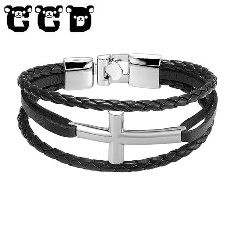 New Fashion Men Jewelry Vintage Leather Jesus Christian Women Men Horizontal Sideway Cross Bracelets