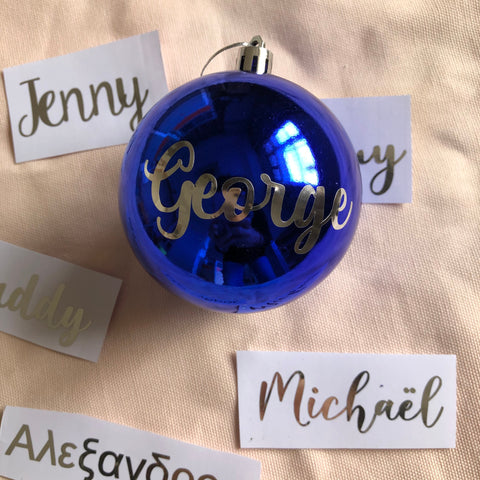 Personalized Christmas ball name decal Custom Christmas bauble name stickers