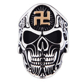Punk Rock Men Stainless Steel Skull Ring Gothic Buddhist Word Swastika Skeleton Ring Vintage