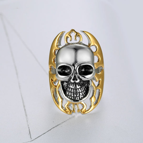 Punk Yellow color Plated and Sliver White 316L Stainless Steel Flame Skull Ring for Men Punk Jewelry