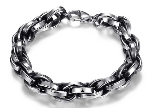 Men's Fashion Chain Link High Quality Stainless Steel Silver Color bracelet