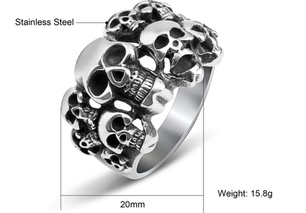 Skeleton Skull Ring Men Stainless Steel Vintage Punk Alien Rings for Male Pirate Viking Biker