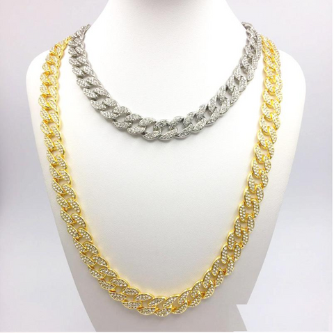 Men's Hip Hop Bling Iced Out Chain Silver Gold Color Rock Miami Cuban Link Chains