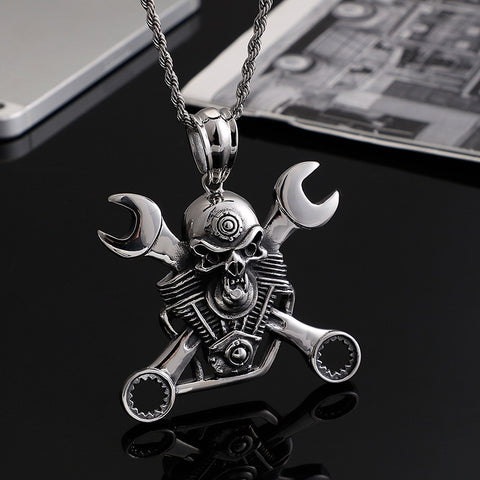 Stainless steel jewelry Titanium steel wrench pendant men's personality punk skull pendant accessories