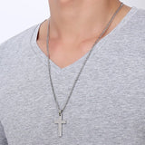 Titanium Cross Necklace for Men Black Silver Gold Color Stainless Steel Pendant Necklace Male Faith Jewelry Brief Design