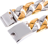 23MM Wide Thick Chain Solid Golden Stainless Steel Men Bracelet Biker