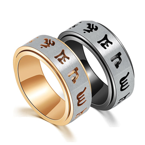 Vintage Prayer Spinner Ring for Men Titanium Tibetan Buddhist Six True Syllable Mantra Rings