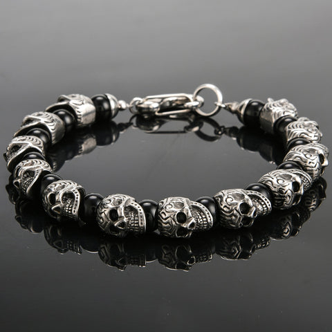 Vintage Stainless Steel Skull Beads Bracelet Men 8MM Natural Stone
