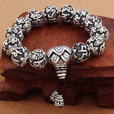 Vintage Tibetan Buddhism Brass Silver Plated Charm Rope Bracelet Six Words Mantras Yoga Lotus Prayer Beads Bracelet