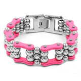 Pink Bicycle Chain Steel Balls Stainless Steel Bracelet for Women