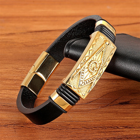 Genuine Leather Bracelet Gold Color Easy Hook Totem/Geometric/Scorpion Pattern Luxury Jewelry