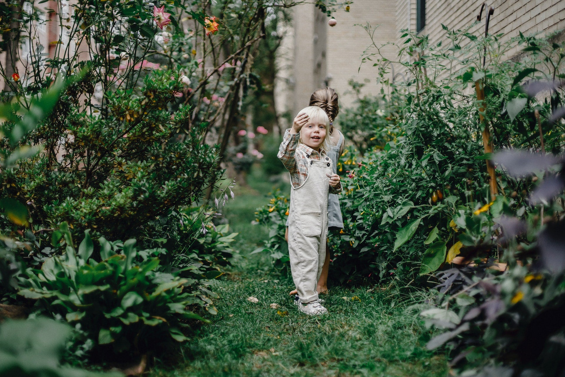 kids playing in a sustainable backyard