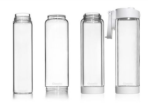break proof glass water bottle in white