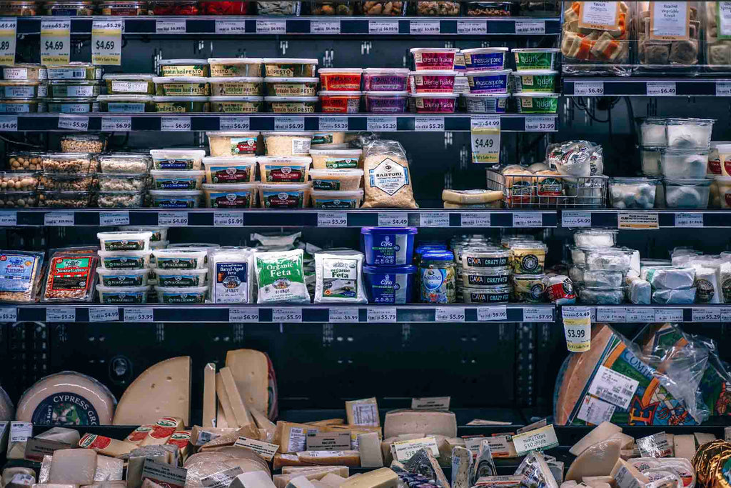 food in plastic at grocery stores