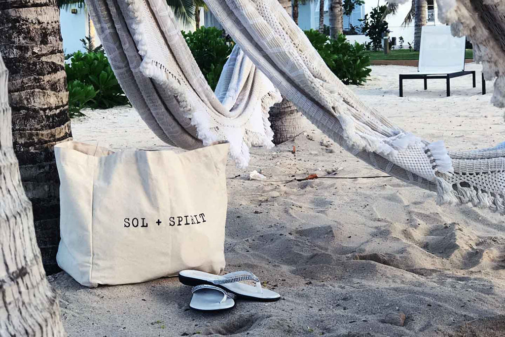 organic cotton tote bag on beach
