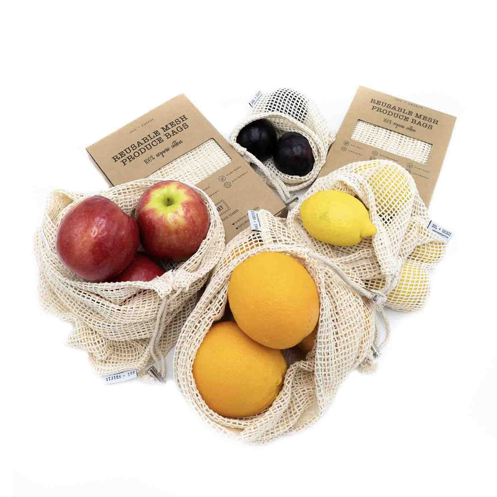 reusable produce bags 3 and 5 pack with apples and oranges
