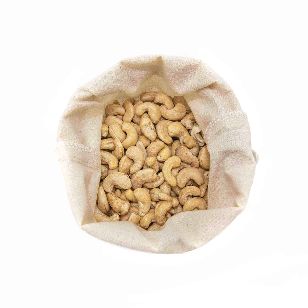 top view reusable bulk food bags cashews