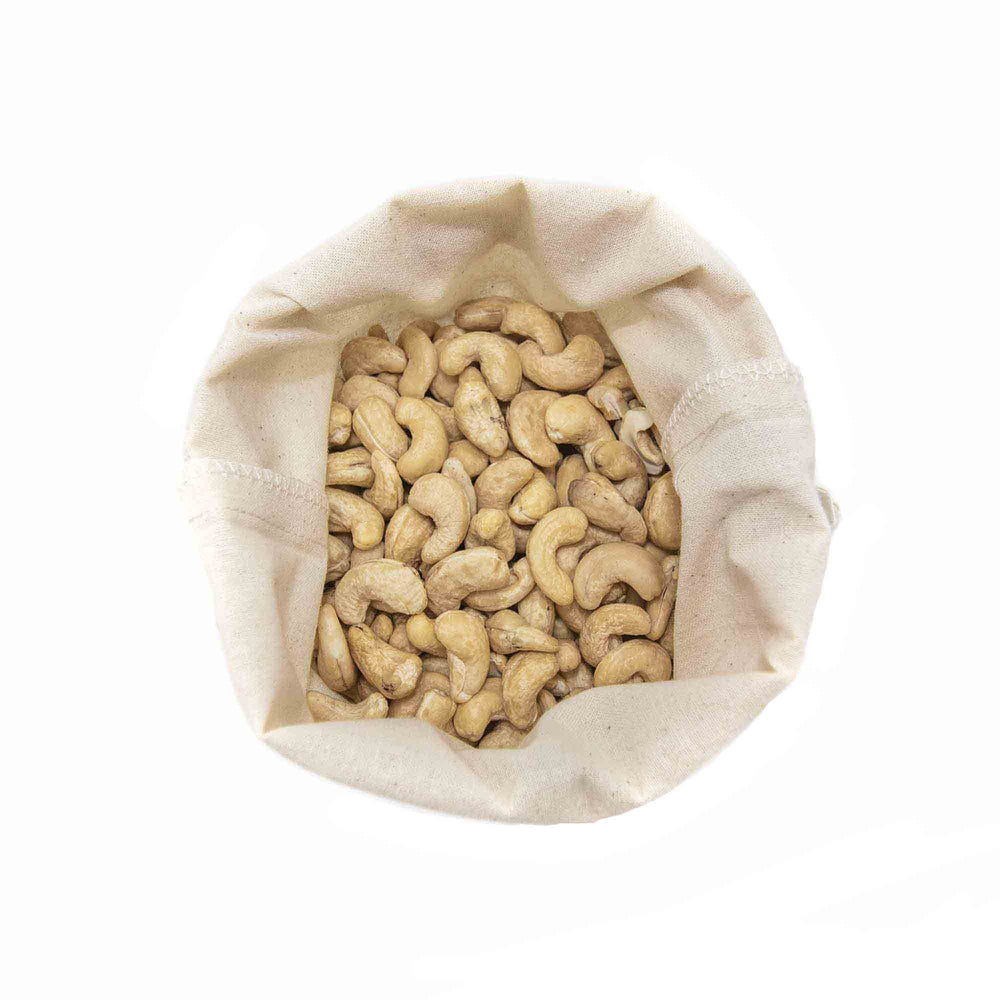 bulk food bags with cashews top view