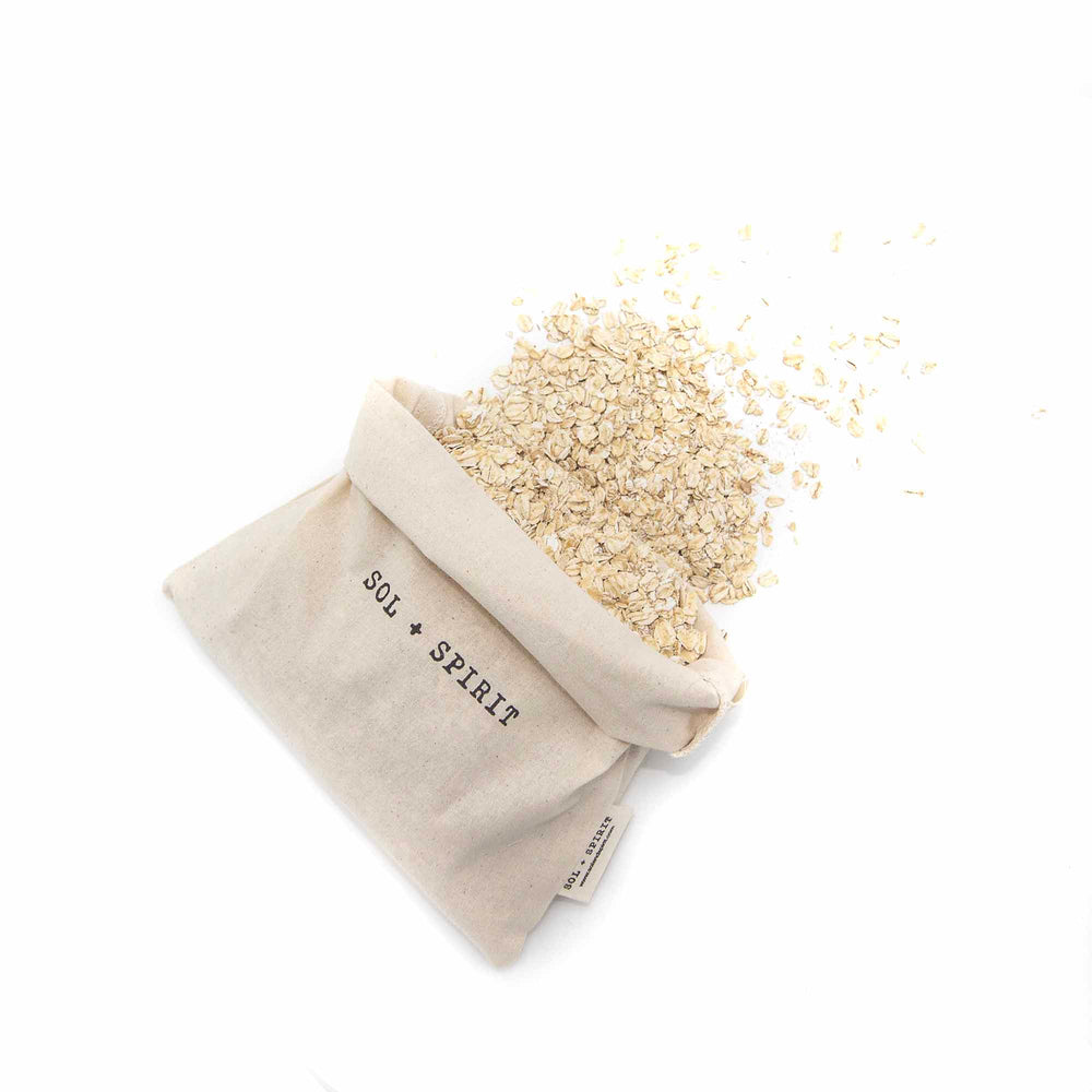 cotton shopping bags bulk bag with oats spilling out
