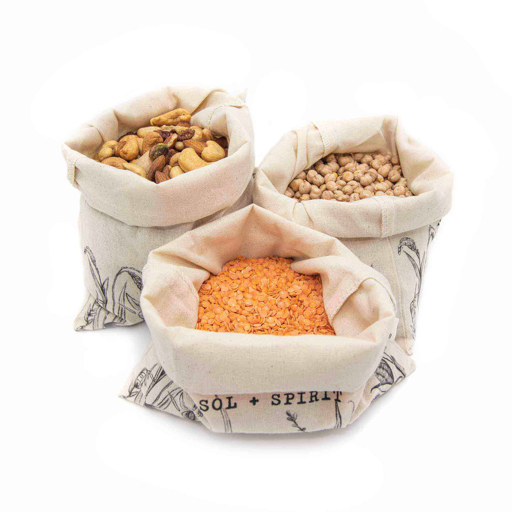 reusable bulk bag bundle nuts, lentils, chickpeas