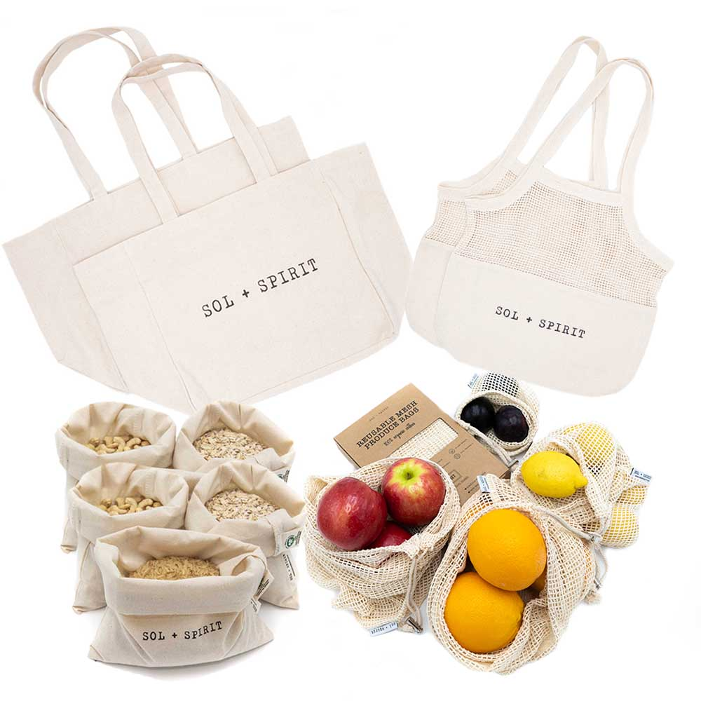 reusable cotton grocery bags essential bundle